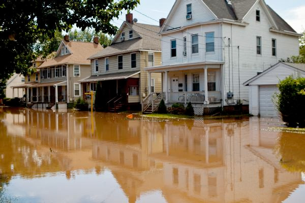 Flood waters surrounding houses in New Jersey