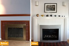 Before a wood burning fireplace was converted to gas