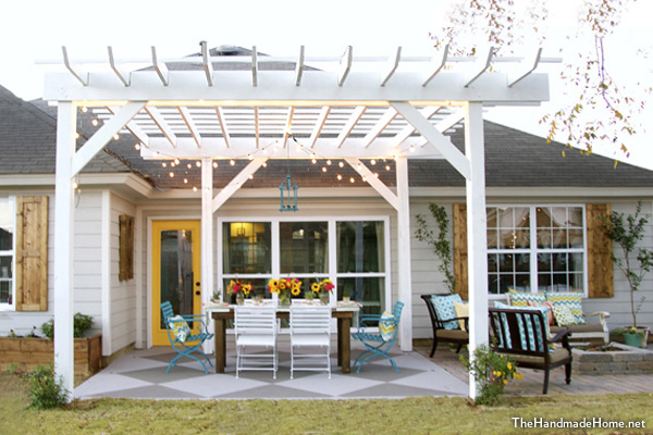 White painted wood pergola DIY project