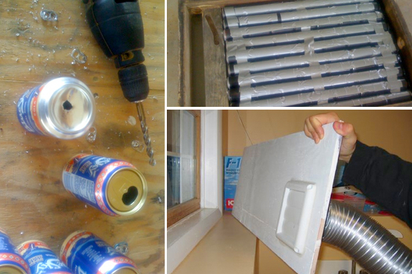 A DIY solar heater made from soda cans