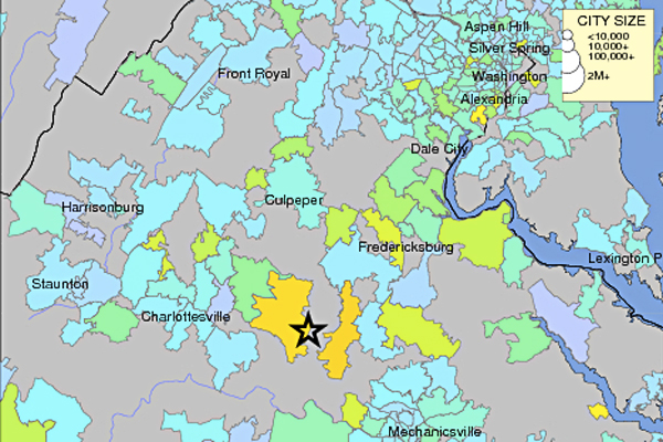 A community intensity map of the 5.8 earthquake in Virginia