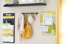 Yellow information station in home entryway