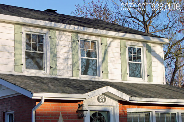 The DIY shutters on the blogger's home