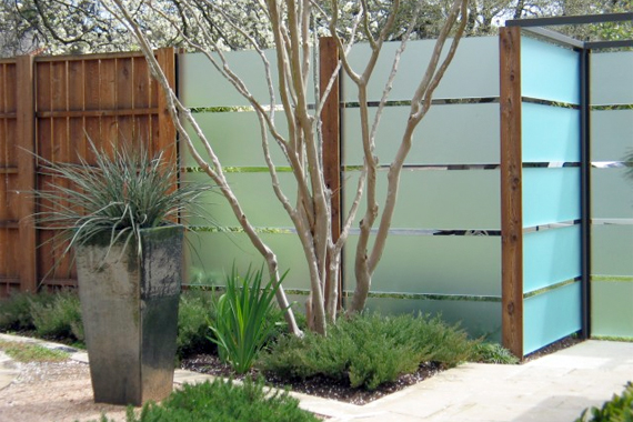 Frosted glass privacy fence