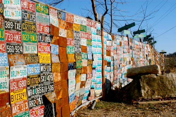 Fence made out of license plates