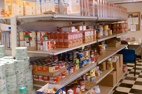 Canned food on shelves at a food bank