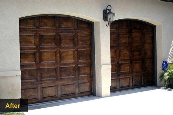 Garage door makeovers wood garage doors houselogic for Faux garage door