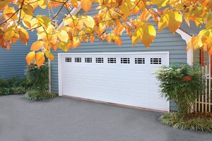Traditional garage door on house
