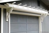Completed garage door white trellis project at home