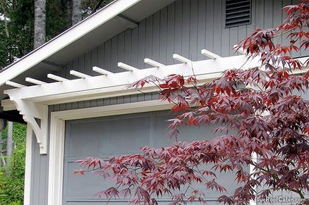 Home with a DIY garage door trellis