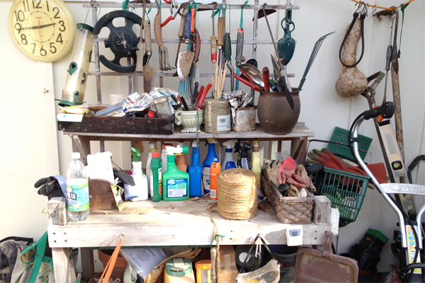 Lisa's potting bench with her gardening tools