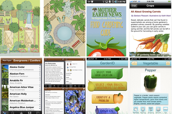 Screenshots from gardening apps for iPhone and Android