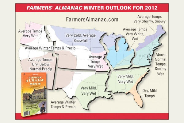 Winter prediction map from Farmers' Almanac