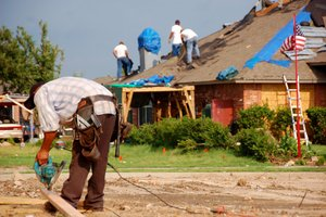 Repairing a home after storms in Moore, Oklahoma