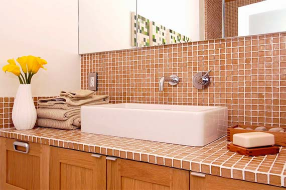 Glass tile is an eco-friendly choice for bathroom remodels