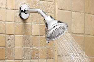 Low-flow showerhead in bathroom