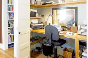 Closet used as a home office