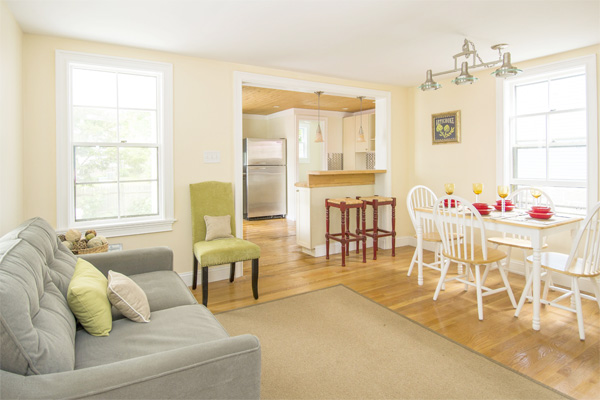 Living and dining room staged for home sale