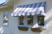 Striped awning on a house