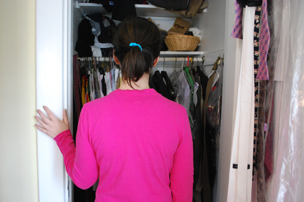 Checking out a closet while house hunting