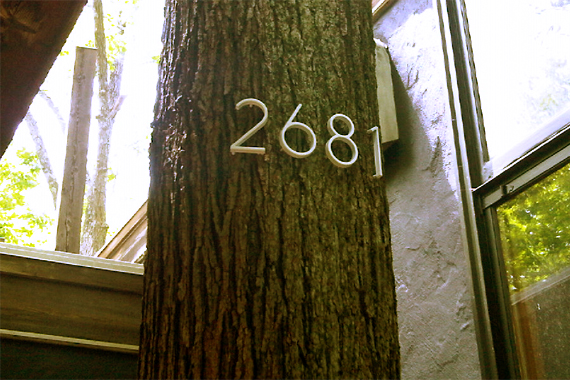 House Numbers Nailed into a Tree | House Numbers