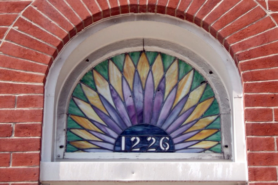 Vintage Stained Glass Transom Window | House Numbers