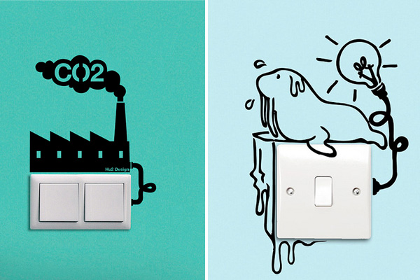 Eco reminder wall stickers around light switches