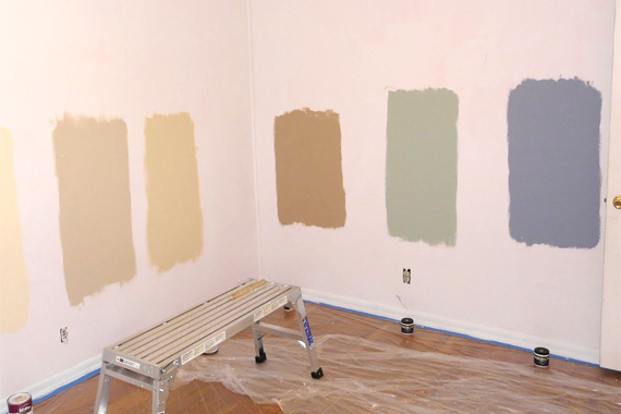 Testing paint colors on a wall