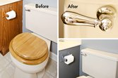 A new toilet handle helps upgrade  the look of this bathroom