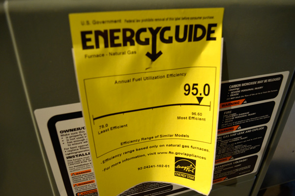 Energyguide label on furnace