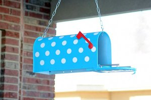 Hand painted mailbox with polka dots