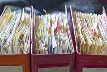 Tax paperwork in binders