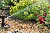 Sprinkler system in flower bed