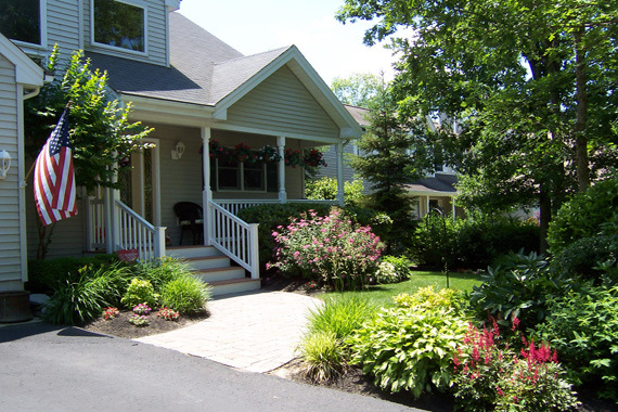 Nicely landscaped front yard