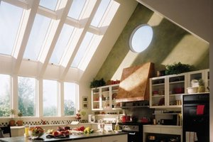 Kitchen with many windows