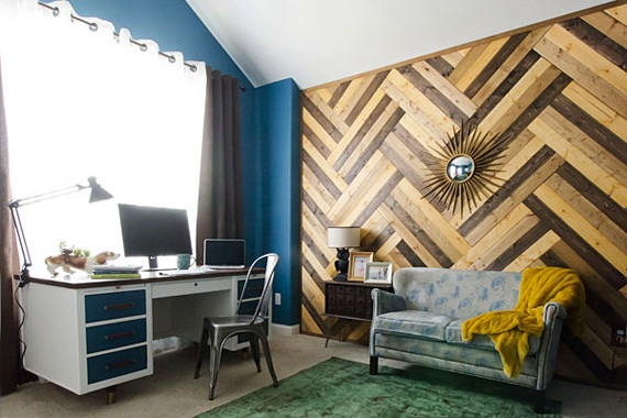 Modern Wood Paneling Herringbone | Wall Remodeling Ideas