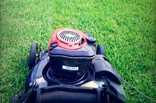 Lawn mower cutting grass