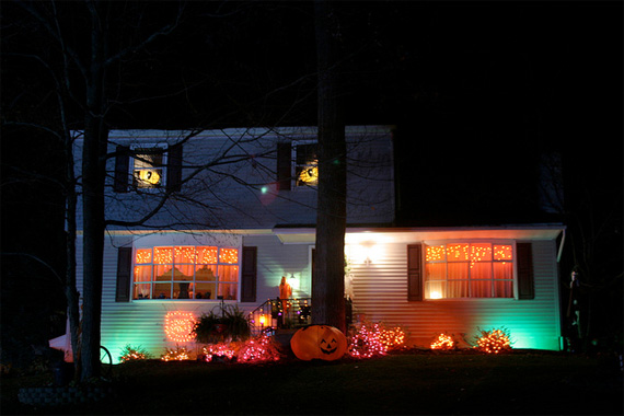 practice holiday lighting safety by inspecting light strings and making sure steps and walkways have adequate outdoor lighting - Halloween Outdoor Lights