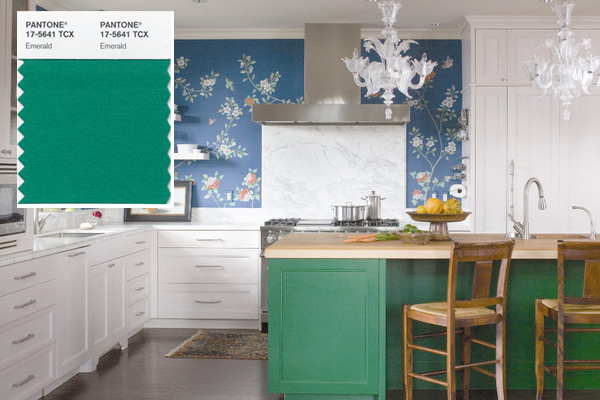 Kitchen with emerald green cabinetry