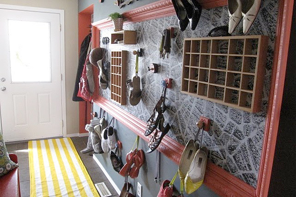 Creative entryway with shoes on hooks
