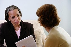 Homeowner meeting with a credit counselor
