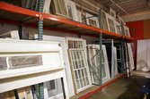 Windows for sale at architectural salvage shop
