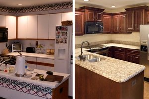 Before and after showing kitchen cabinet refacing