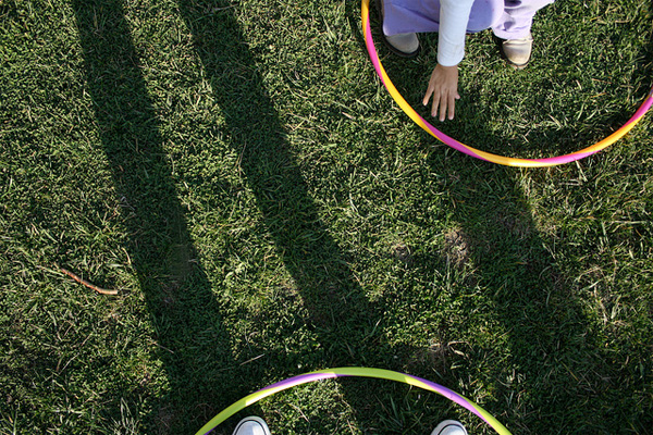 Hula hoops in the back yard