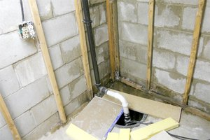 Sump pump in a residential basement