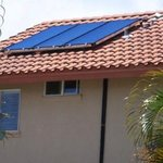 Solar water heater mounted on roof