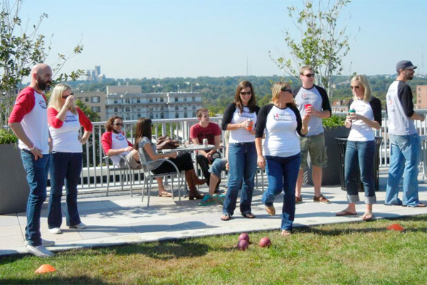 Bocce game held on a green roof in Washington, D.C.