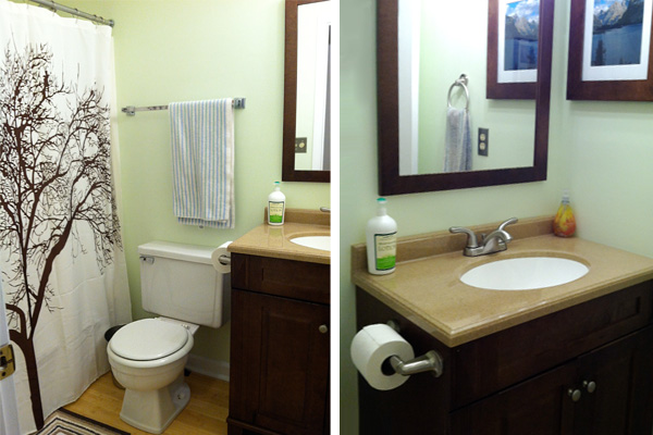 Courtney's redone guest bathroom with bamboo floor