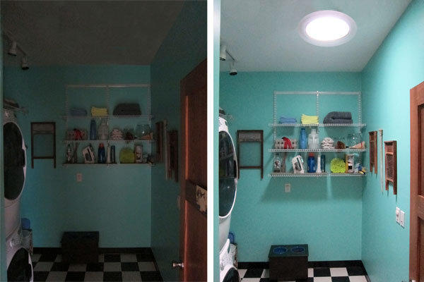 Solar tubes before and after in a laundry room