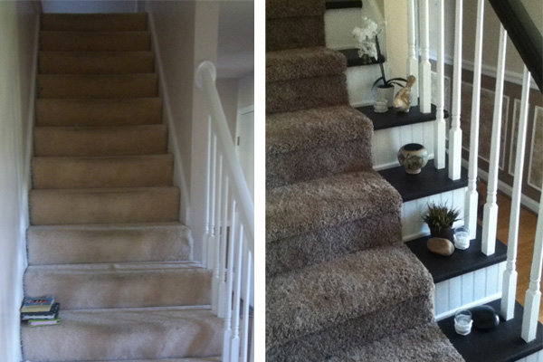Before and after photos of beadboard stairway makeover
